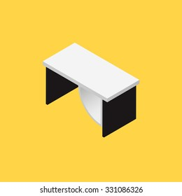 Computer table with 3D style on yellow background, vector illustration