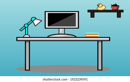 Computer table vector blue background