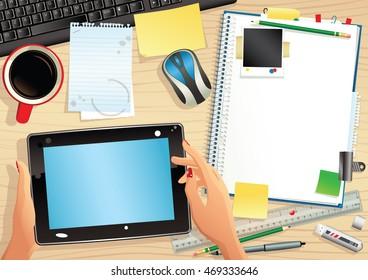 Computer tablet and desktop.