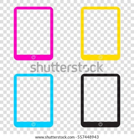 15820352d791 Computer Tablet Sign CMYK Icons On Stock Vector (Royalty Free ...