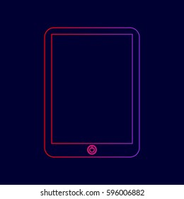 Computer tablet sign. Vector. Line icon with gradient from red to violet colors on dark blue background.