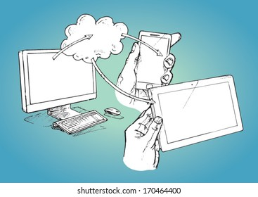 Computer, tablet and smart phone connected to the cloud - vector sketch illustration
