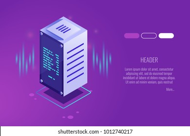 Computer technologies, datacenter, server room, web hosting and dedicated servers, high digital technologies  isometric gradient vector