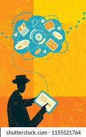 Computer Technology Blog. A businessman adding information to his computer technology blog.