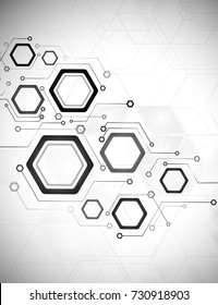 Computer technology, business background, futuristic design, hexahedron, circuit