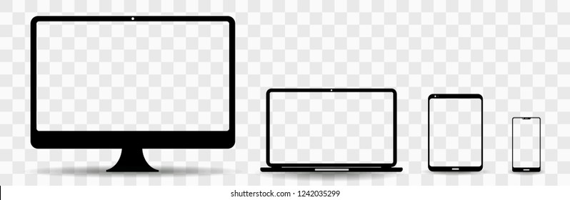computer technology device templates: desktop computer, laptop, tablet and smartphone vector illustration