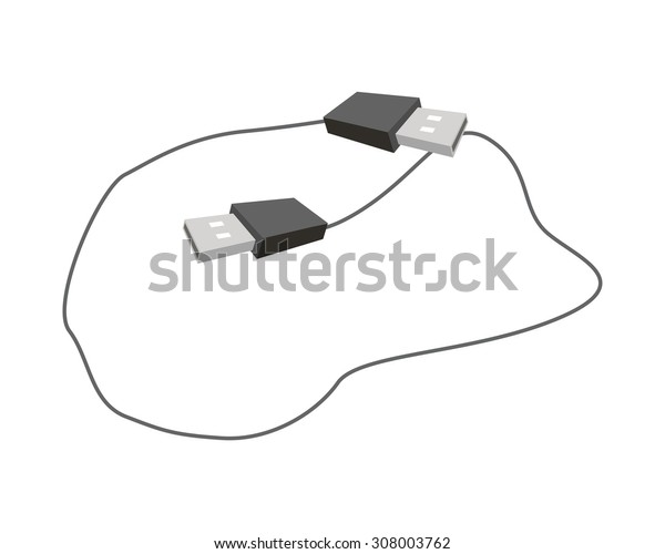 Computer and Technology, Illustration of Computer Cable or Computer Connectors, Black USB Plugs or USB Cable.