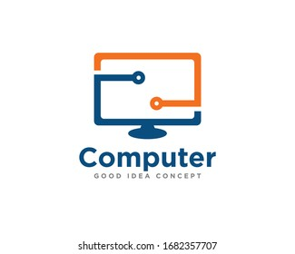 Computer Technology Logo Icon Design Vector