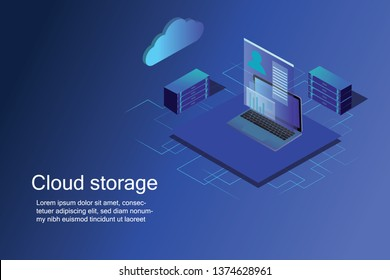 Computer technology, network and database, internet center. isometric cloud storage concept, network vector 3d schematic - Vector