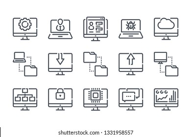Computer technology related line icon set. Data transfer and computer options linear vector icon collection.