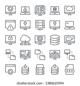 Computer technology related line icon set. Data transfer linear icons. computer options outline vector sign collection.