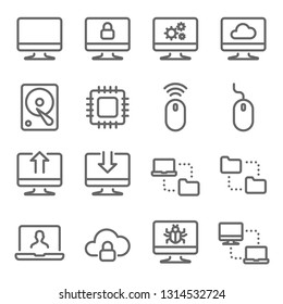 Computer Technology Vector Line Icon Set. Contains such Icons as CPU, Hard disk, Synchronize, network and more. Expanded Stroke