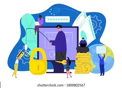 Computer thief technology. Internet security hacker vector illustration. Password virus for money fraud, crime concept. Cyber secure protection against hacking, fishing and steal privacy information.