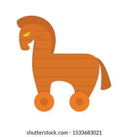 Computer trojan horse icon. Flat illustration of computer trojan horse vector icon for web design