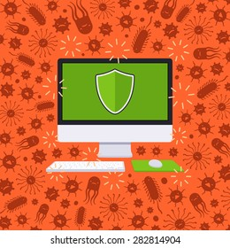 Computer under the virus attack. Conceptual illustration suitable for advertising and promotion
