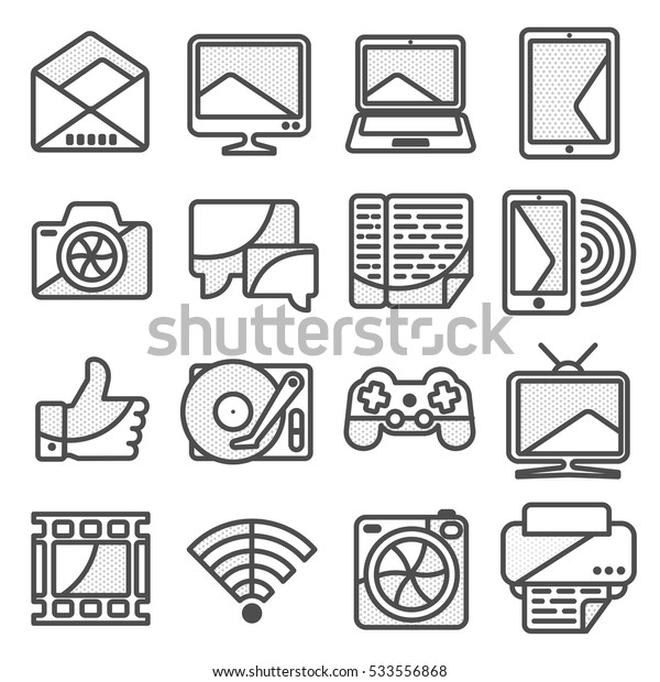 Computer vector icon in line style. Computer, network and mobile devices. Network connections. Advertisements, signs, stickers, web banners, web sites. Isolated on a white background