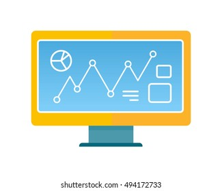 Computer vector illustration in flat style design. Screen with infographic line elements. Illustration for technological concepts, web, app, icons, logotype design. Isolated on white background.