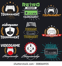 Computer and video game game label. Vintage logo in flat style. Colour badges for tournament, party, championship. Easy for editing