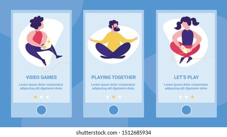 Computer Video Games, Mobile Gaming, Smartphone Streaming Service Flat Vector Vertical Web Banner, Landing Page Template with Woman, Man and Girl Using Gamepads, Playing Together Online Illustration