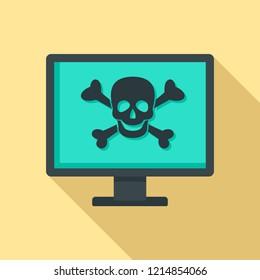 Computer virus attack icon. Flat illustration of computer virus attack vector icon for web design