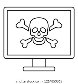 Computer virus attack icon. Outline illustration of computer virus attack vector icon for web design isolated on white background