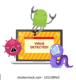 Computer virus attacking laptop