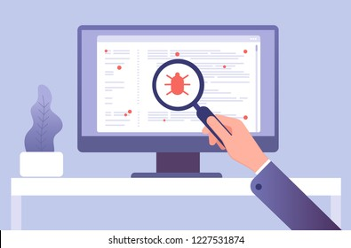 Computer virus concept. Hand with magnifying glass testing software. Bug virus icon on computer screen. Vector illustration