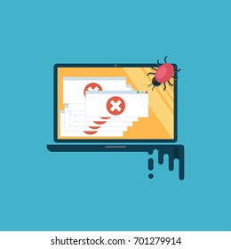 Computer virus. The computer is infected, there are a lot of alert messages. Flat vector illustration