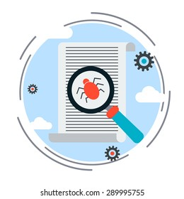 Computer virus search, debugging, program code verification, internet security flat design style vector concept illustration