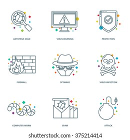 Computer virus vector icons set, line style