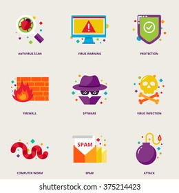 Computer virus vector icons set: antivirus scan, warning, protection, firewall, spyware, infection, worm, spam, attack