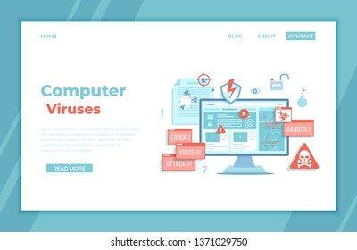 Computer Viruses Attack, Errors detected, Warning signs, Stealing data. Monitor with hacking virus alert messages, bugs, notifications, bomb, open lock, infected files. landing page template or banner
