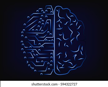 computer vs the mind: artificial intelligence and human brain comparison design, with mesh background