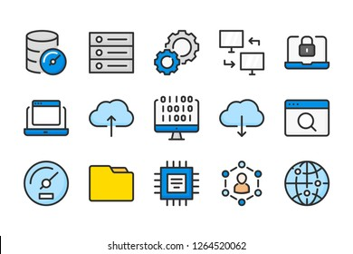 Computer and web color line icons. Coding and web services vector linear colorful icon set. Isolated icon collection on white background.