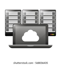 computer with web hosting or data center related icons image vector illustration design