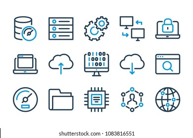 Computer and web related line icon set. Server and cloud technology stroke icons.