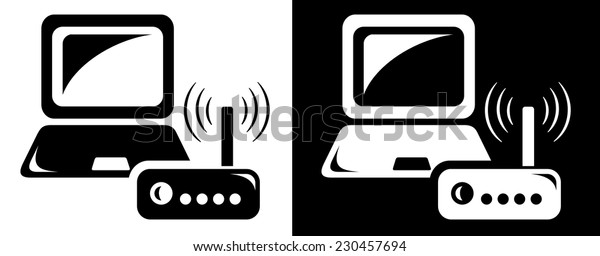 Computer with wireless router icon