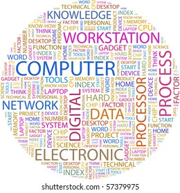 COMPUTER. Word collage on white background. Illustration with different association terms.