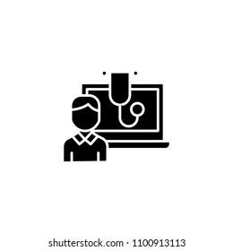 Computerized diagnostics black icon concept. Computerized diagnostics flat  vector symbol, sign, illustration.