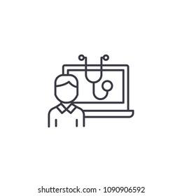 Computerized diagnostics linear icon concept. Computerized diagnostics line vector sign, symbol, illustration.