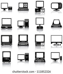 Computers - 16 silhouettes of retro and modern computers.