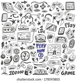 computers games - doodles set vector