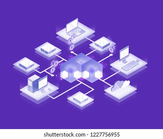 Computers and servers connected into blockchain formation, Bitcoin network. Cryptocurrency service, decentralized and distributed database, innovative technology. Isometric vector illustration.
