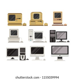 Computers set, PC evolution from obsolete to modern vector Illustrations on a white background