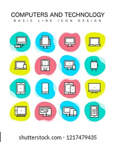 COMPUTERS AND TECHNOLOGY LINE ICON SET