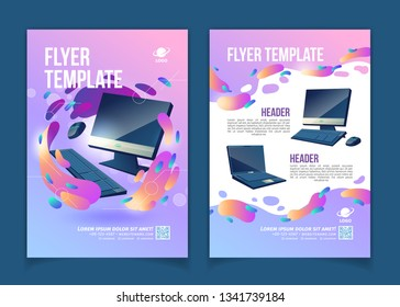 Computers trading company, innovative IT or technological startup advertising flyer or banner cartoon vector pages template with modern personal computer desktop, monitor and laptop illustrations