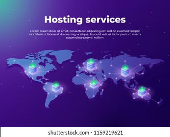 Computing services concept. Servers on the world map. Concept of big data processing, server room racks. Fast data transfer. vector illustration concepts of website and mobile app development.