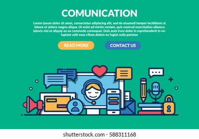 Comunication Concept for web page. Vector illustration