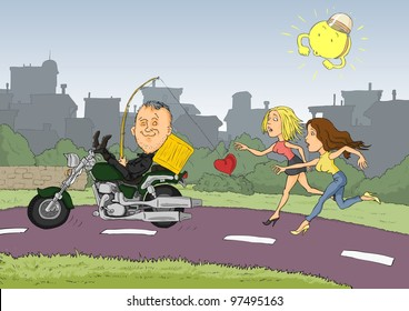 Conceited man driving a motorcycle and two women running after him