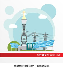 Concentrated solar power station. Colorful illustration in a flat style. System with Concentrator photovoltaics,  electrical  generator and Solar power tower